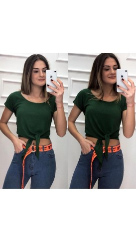 Fitilli Basic Crop Top Tshirt-Yeşil